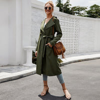Women's Army Green Windbreaker Lapel High Waist