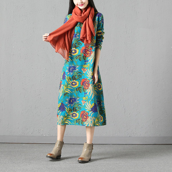 Spring Autumn National Wind Women Dress