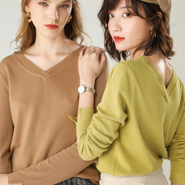 Women's v-neck sweater autumn