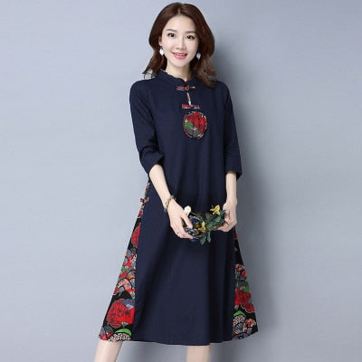 Vintage Floral Dress Elegant Cotton
