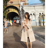 women's apricot Trench Coat mid-long