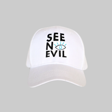 Load image into Gallery viewer, See No Evil white cap front