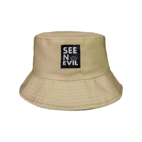 See no evil bucket hat in beige