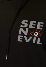 Load image into Gallery viewer, Lebanon hoodie with see no evil logo in grey from the side