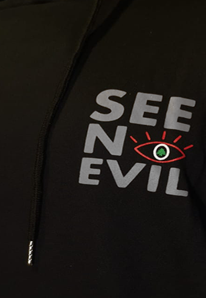 Lebanon hoodie with see no evil logo in grey from the side