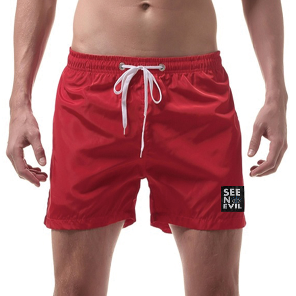 Red Swimming Shorts - See No Evil