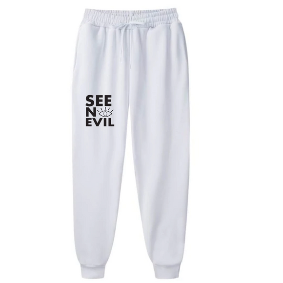 Basic white sweatpants is an original see no evil brand product, affordable and can be shipped worldwide