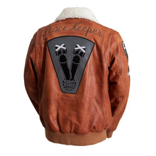 Load image into Gallery viewer, Peacekeeper Leather Bomber Jacket Whiskey