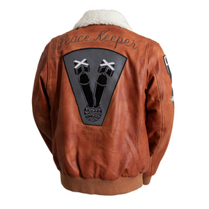 Peacekeeper Leather Bomber Jacket Whiskey