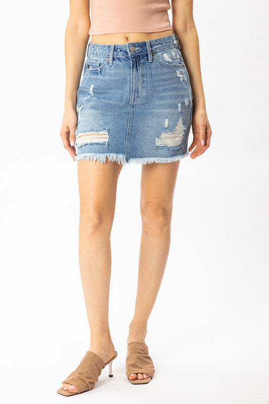 Distressed Jean Skirt- KanCan