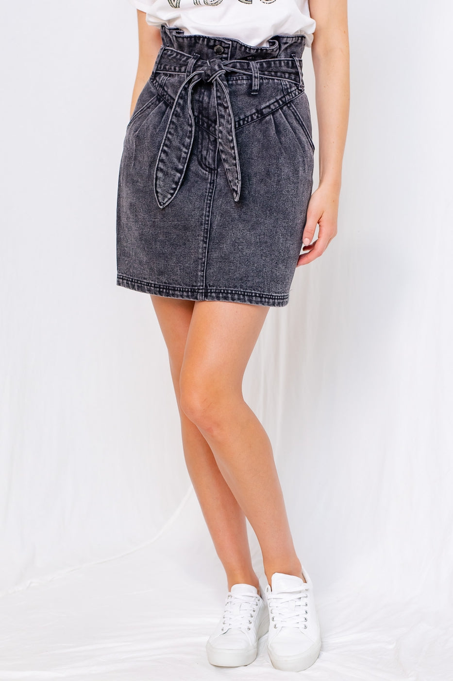 Jean Skirt With Tie