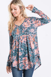 Babydoll Long Sleeve Multi Splash Top