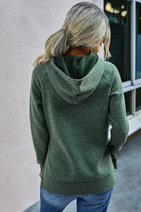 Cozy Hoodie With Button Side Detail