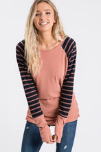Load image into Gallery viewer, Ashley Mauve Navy  Long Sleeve