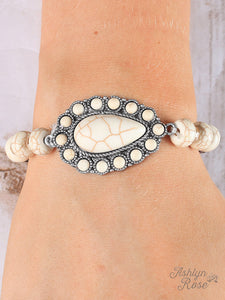 Silver & Cream Bracelet With Cream Teardrop