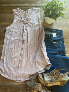 Distressed Mauve Lace Up Tank