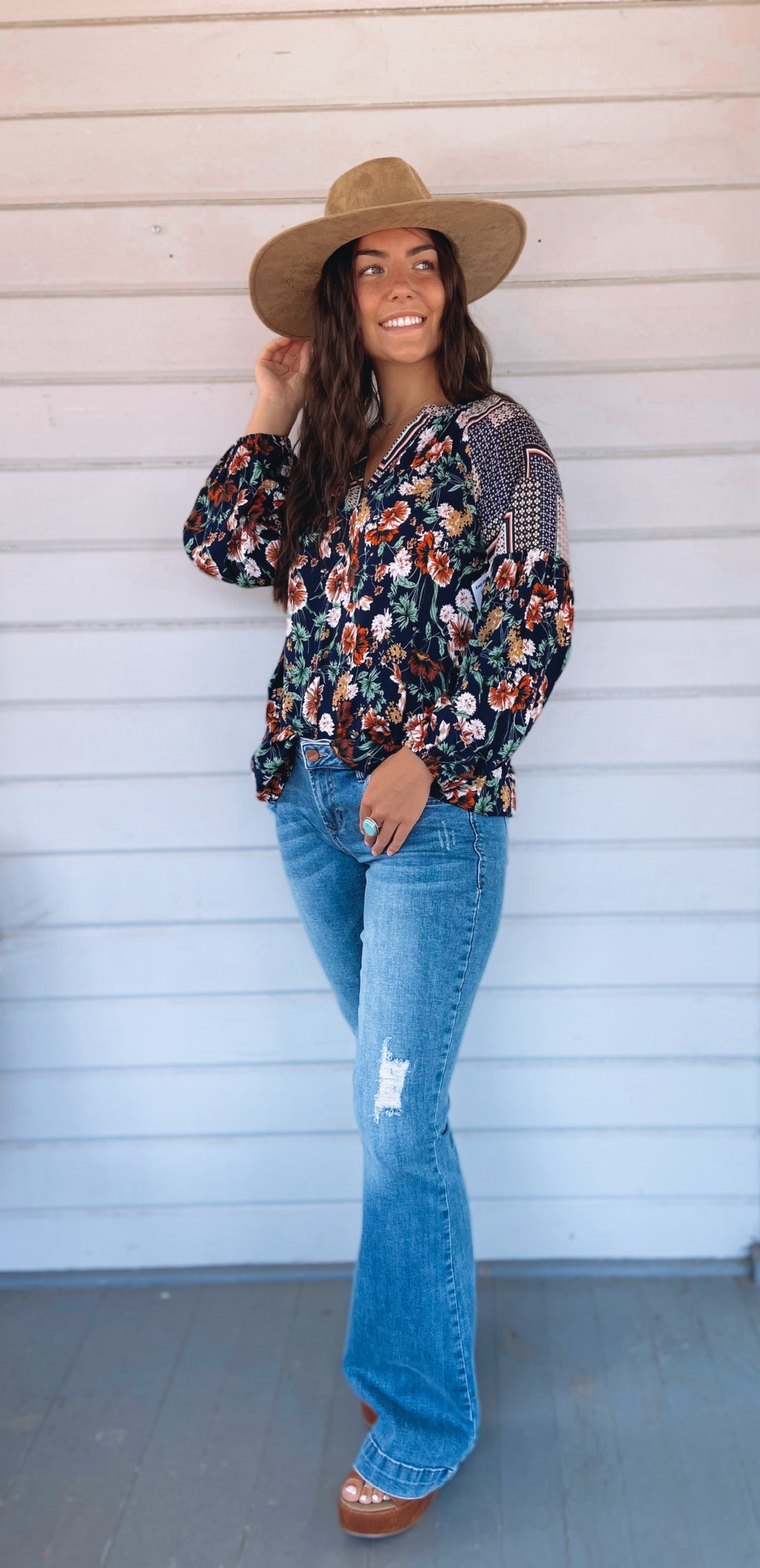 Oh hey there floral Navy long sleeve blouse