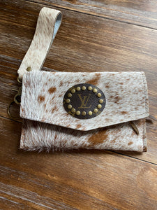 Clutch With Cowhide Inspired Details