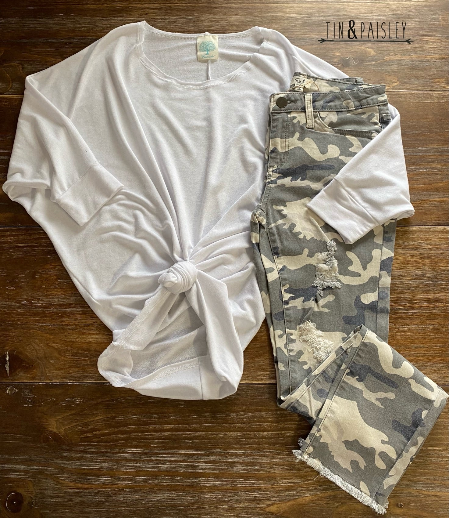 Camouflage Distressed Skinny Pants