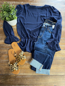Blue V Neck Top With Band