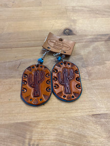 Down The Fence Design Earring Leather Cactus