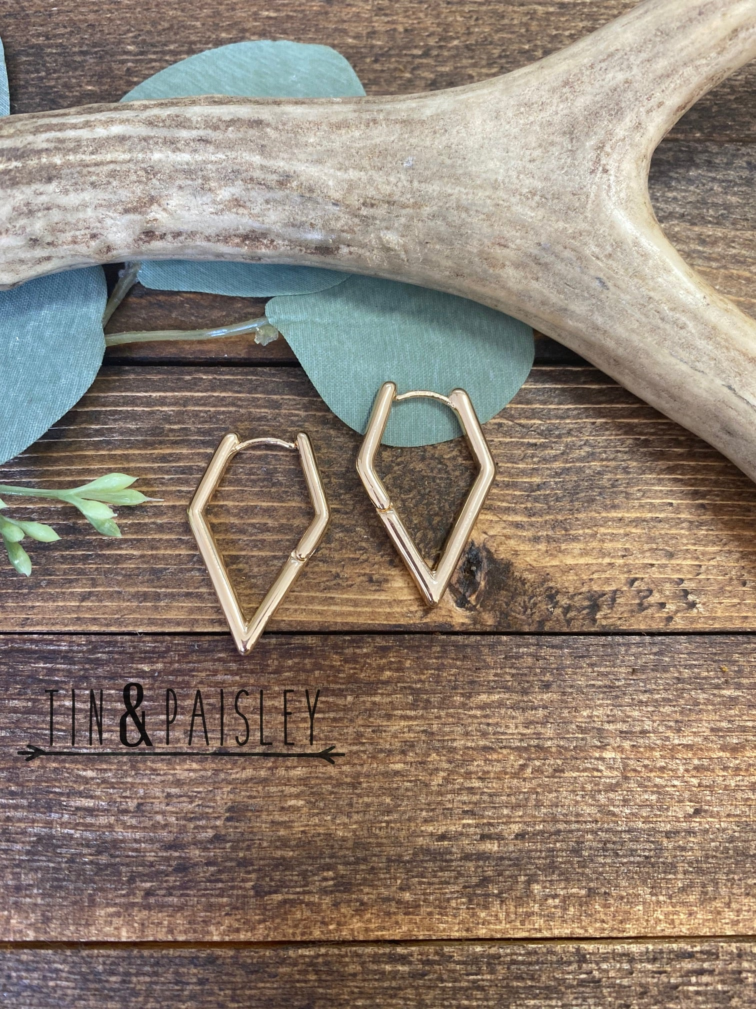 Gold Triangle Hoops