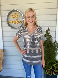 Gray Aztec top
