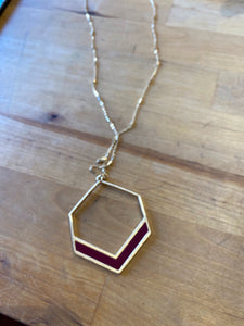 "Gold and Maroon Enamel Geometric 34"" Necklace"