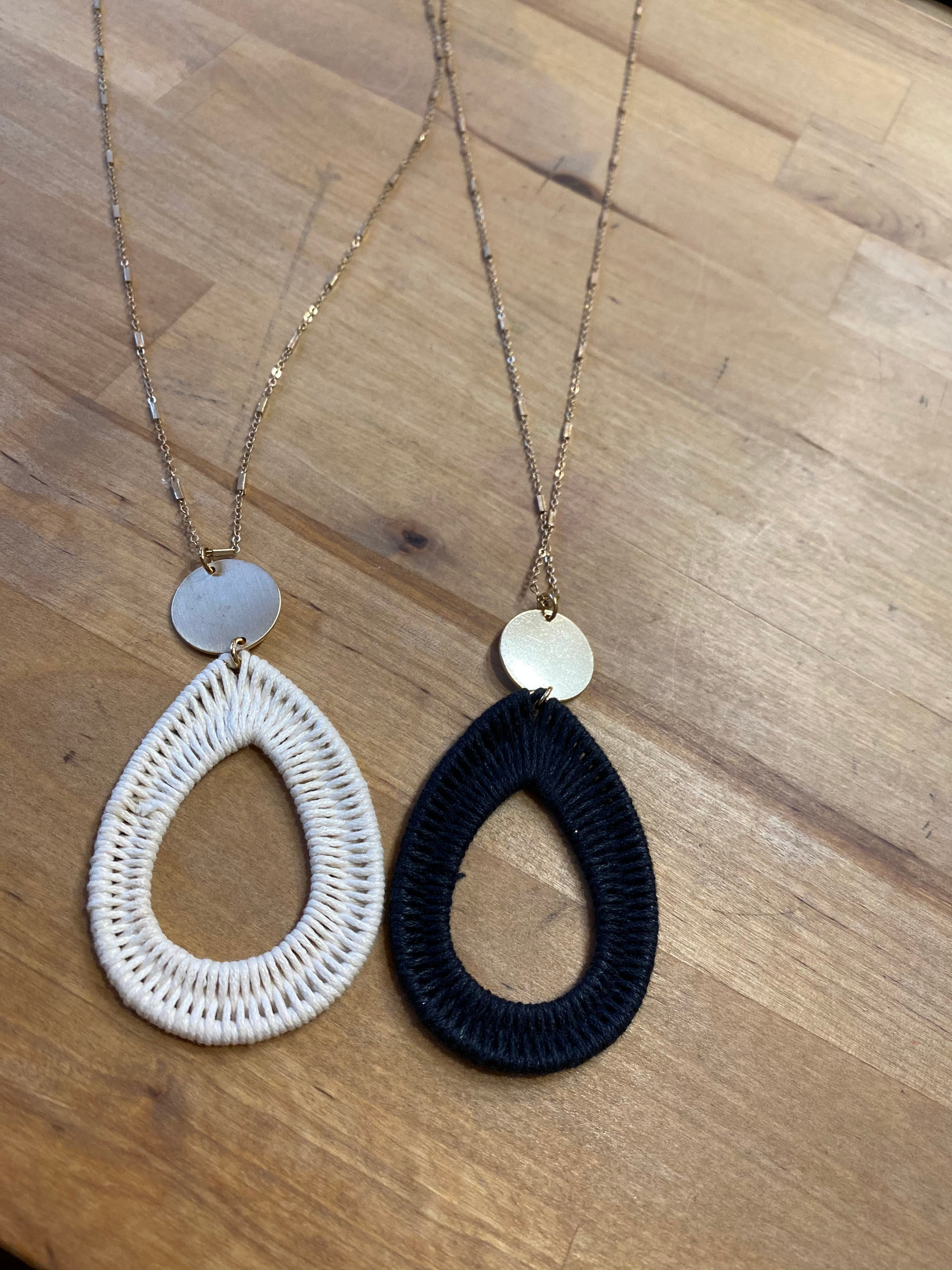 Fabric Wrapped Teardrop Gold Necklace