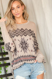 Snowflake Printed Long Sleeve Top