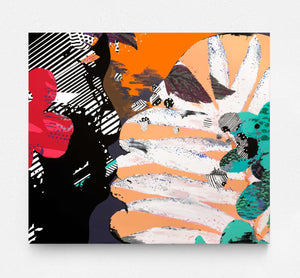 bright, colourful abstract canvas painting