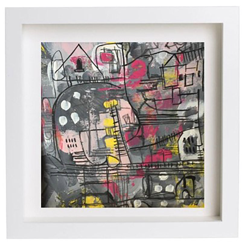 black, grey, pink, yellow abstract landscape painting