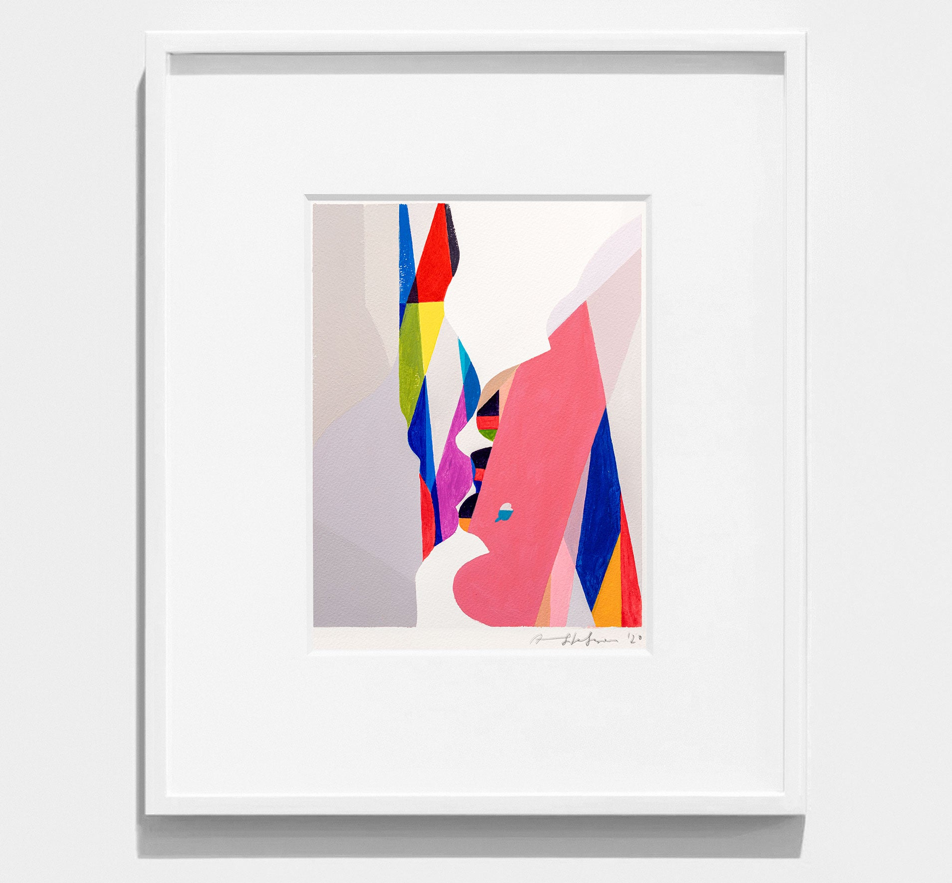 Bright,colourful, framed abstract painting