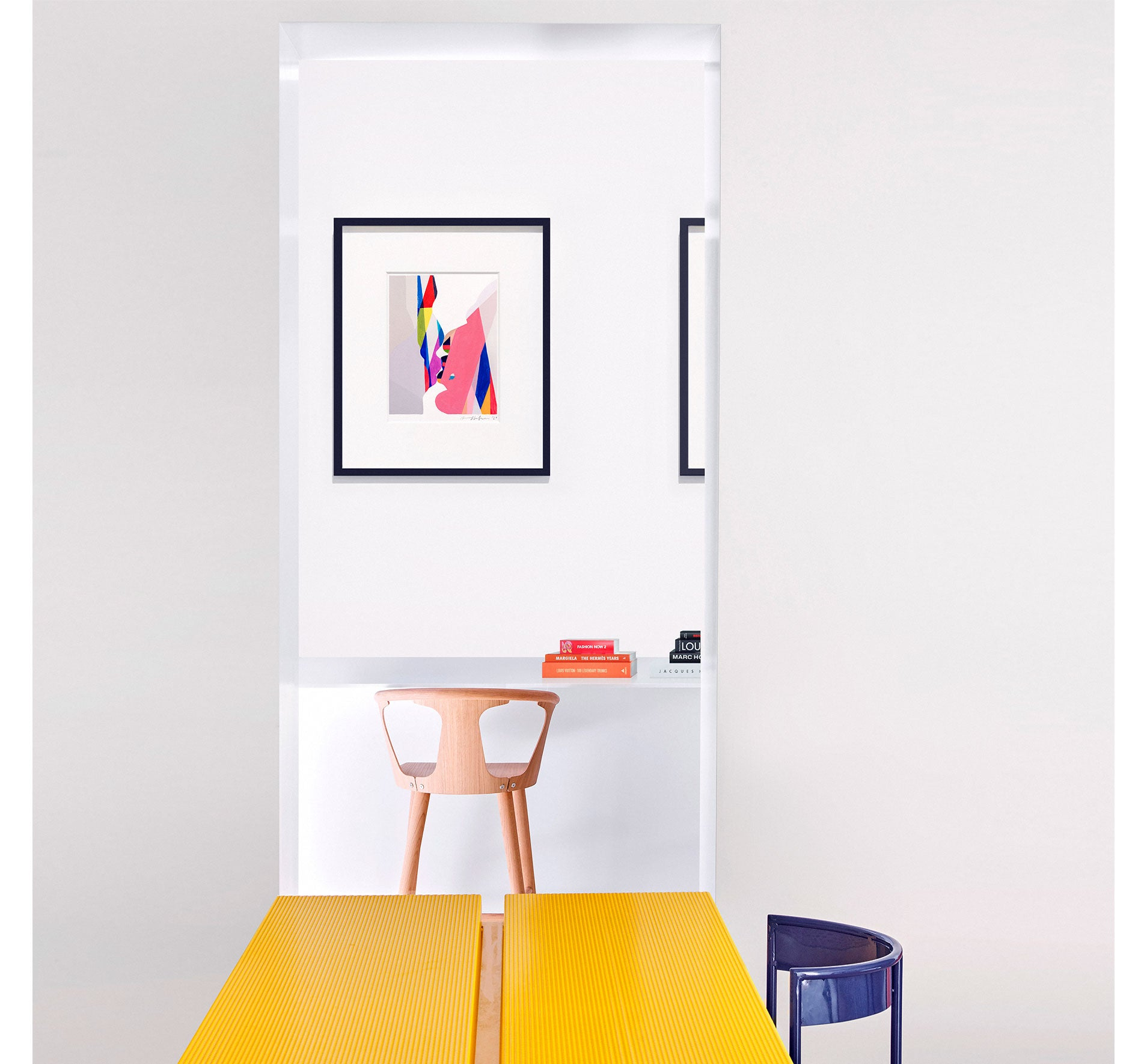 Bright,colourful, framed abstract painting interior display