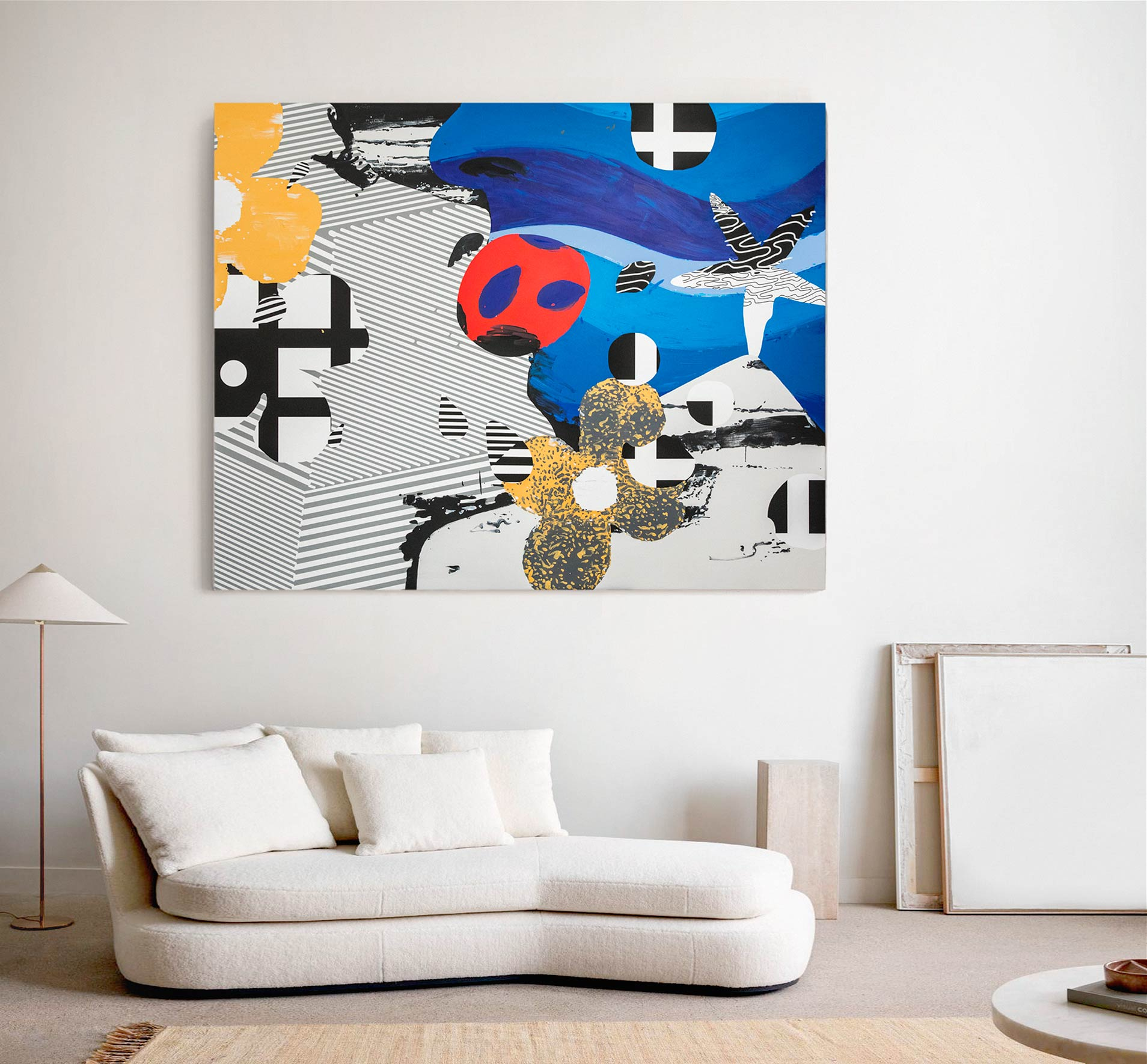 Bright,colourful, canvas abstract painting interior display