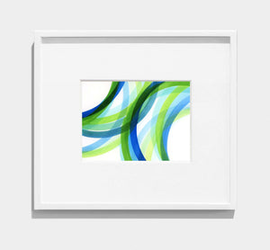 framed abstract painting of interlocking green, blue, turquoise circles