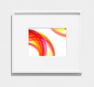 framed abstract painting of pink, red, orange interlocking circles