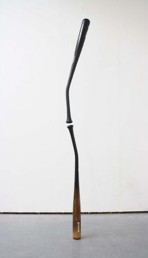 brown abstract baseball bat art sculpture
