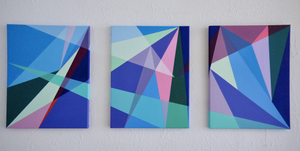multiple, colourful, geometric abstract paintings