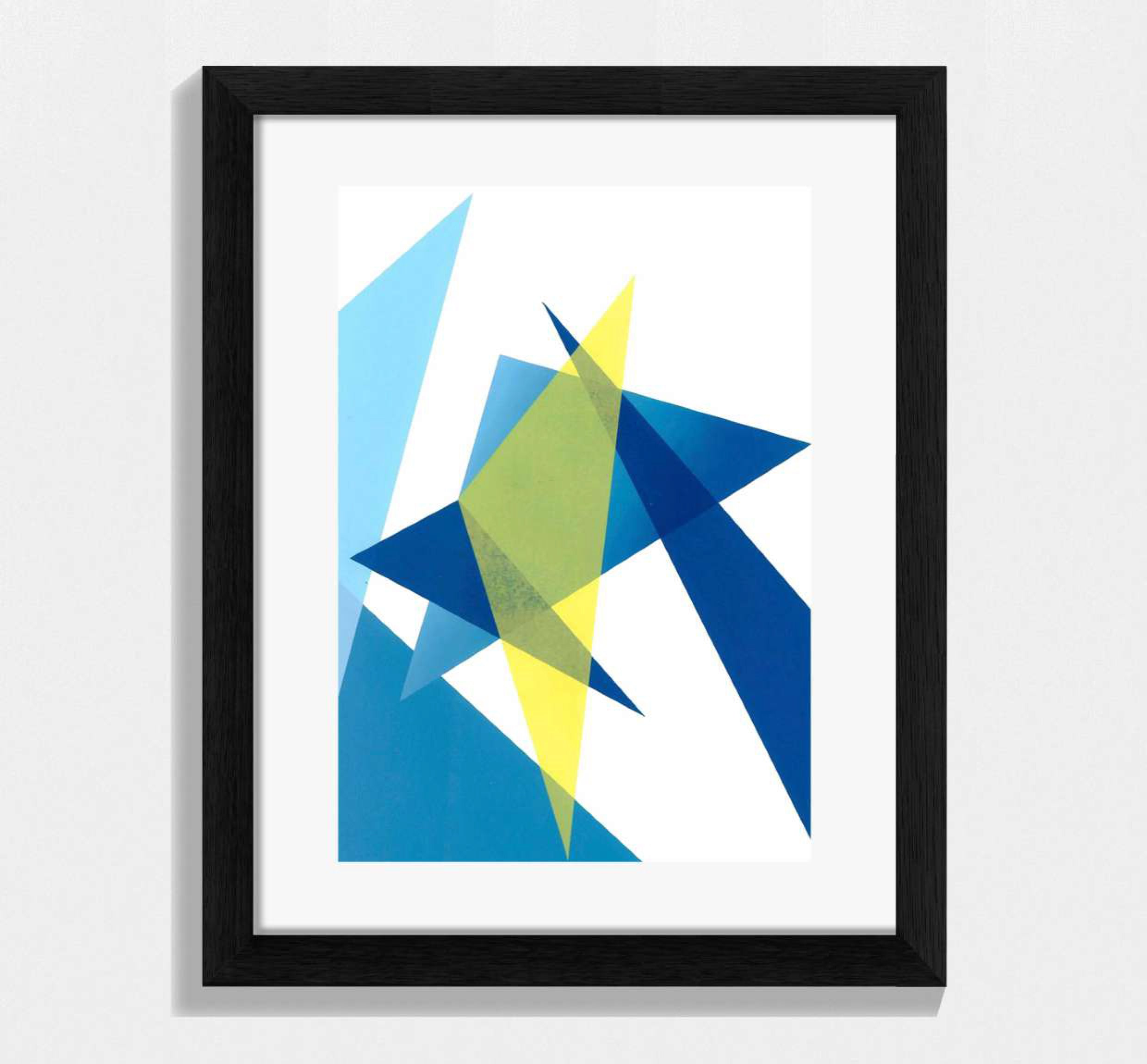 framed blue and yellow geometric shaped print