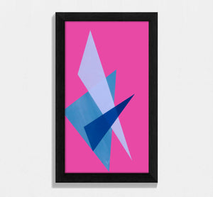 framed blue and pink geometric shaped print