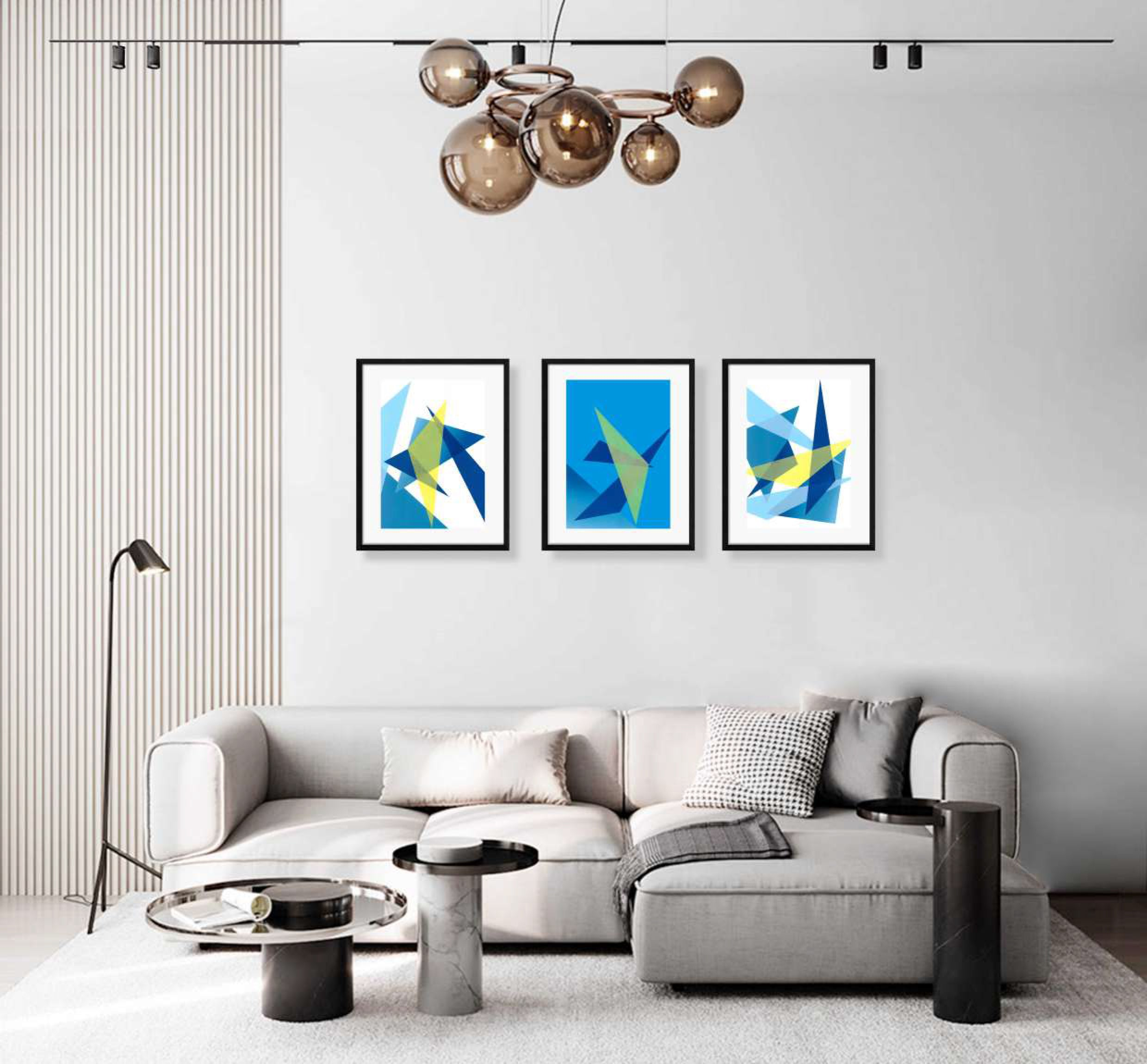 variety collection of framed blue and yellow geometric shaped print interior display