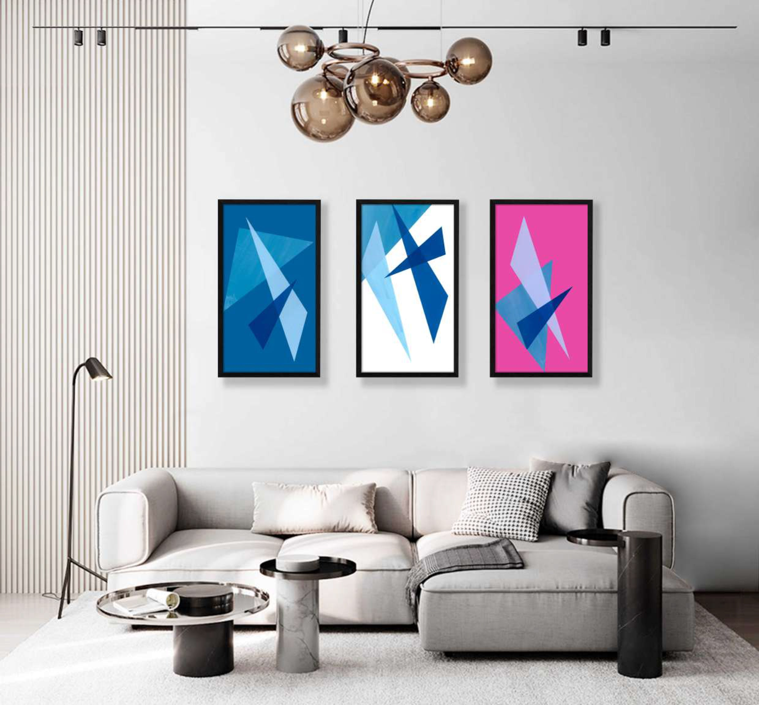 variety collection of framed geometric shaped print interior display