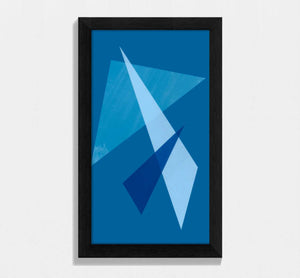framed blue geometric shaped print