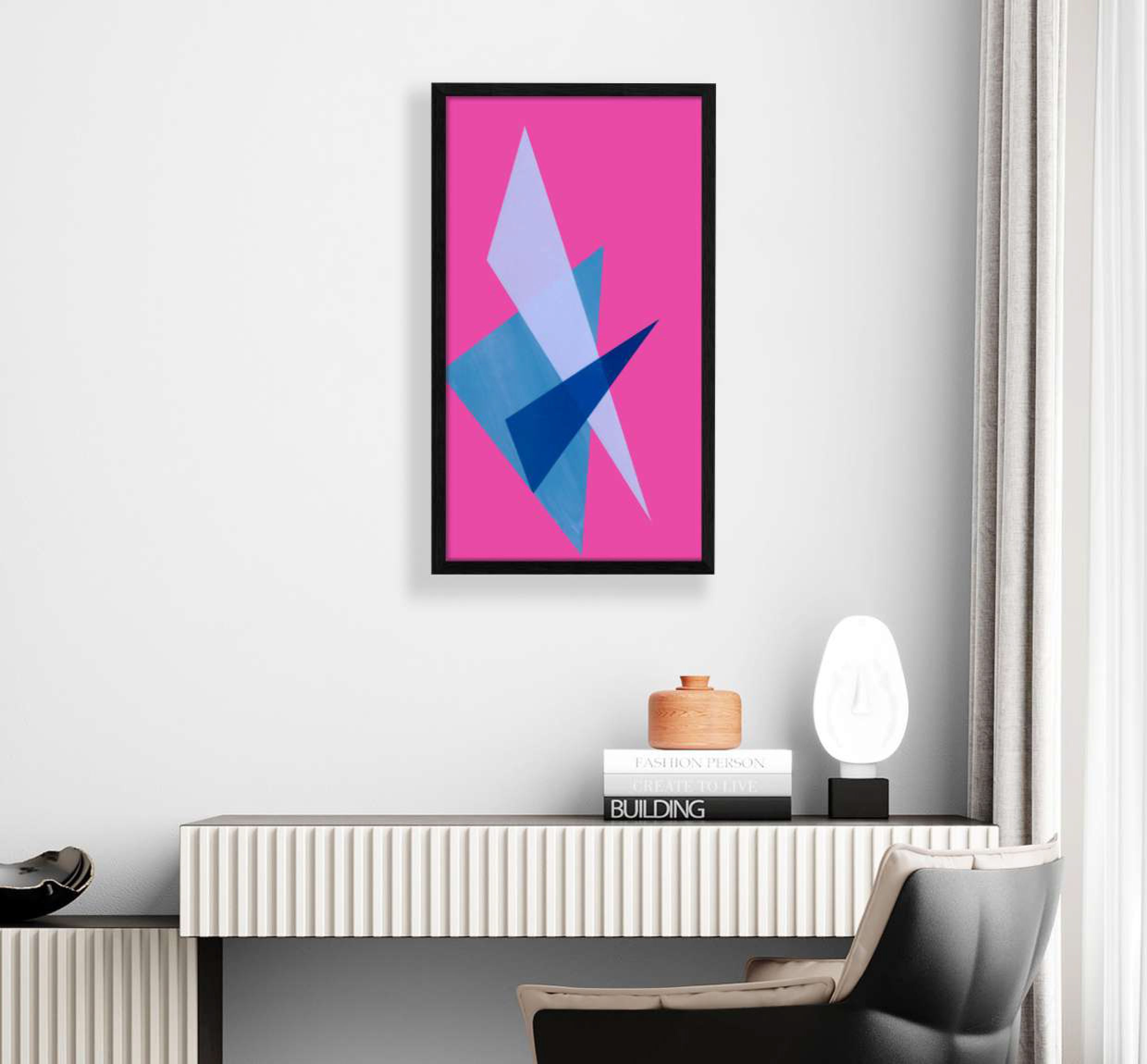 interior display of blue and pink geometric shaped print