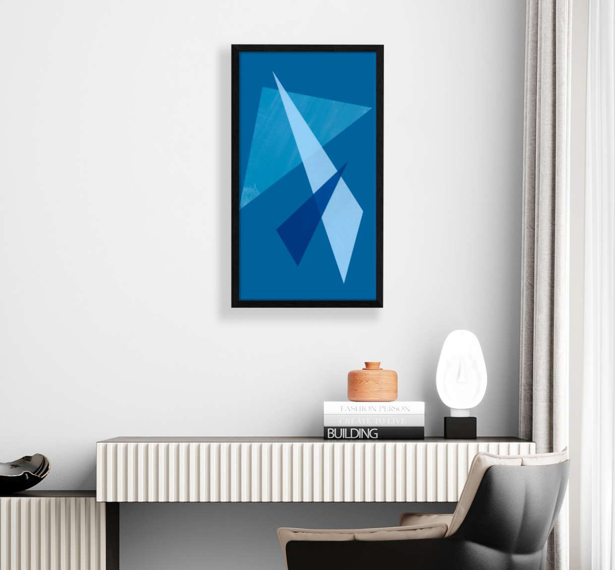 interior display of blue  geometric shaped print