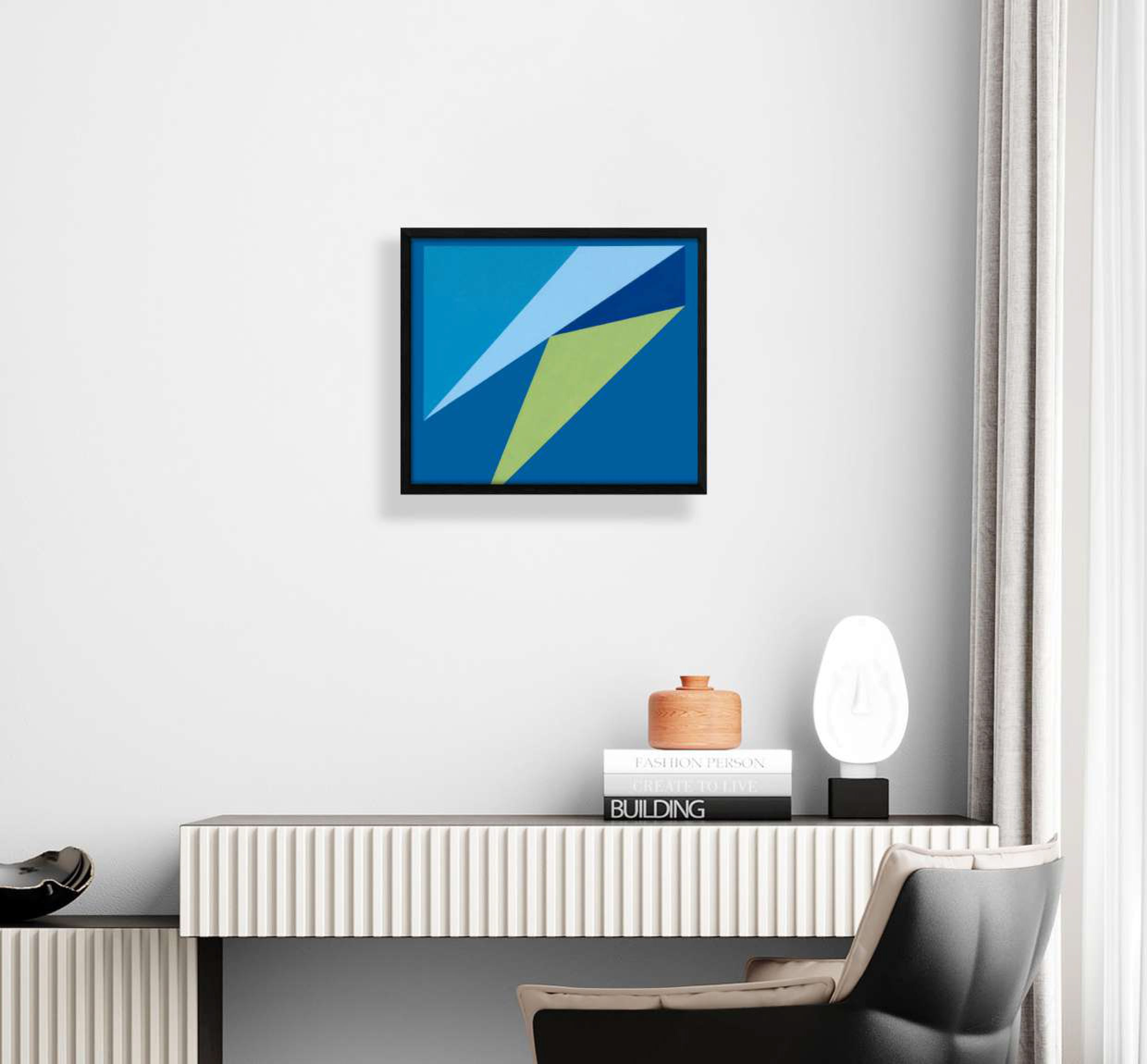 interior display of blue and yellow geometric shaped print