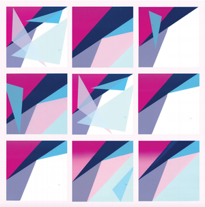 blue, pink and purple geometric shaped print