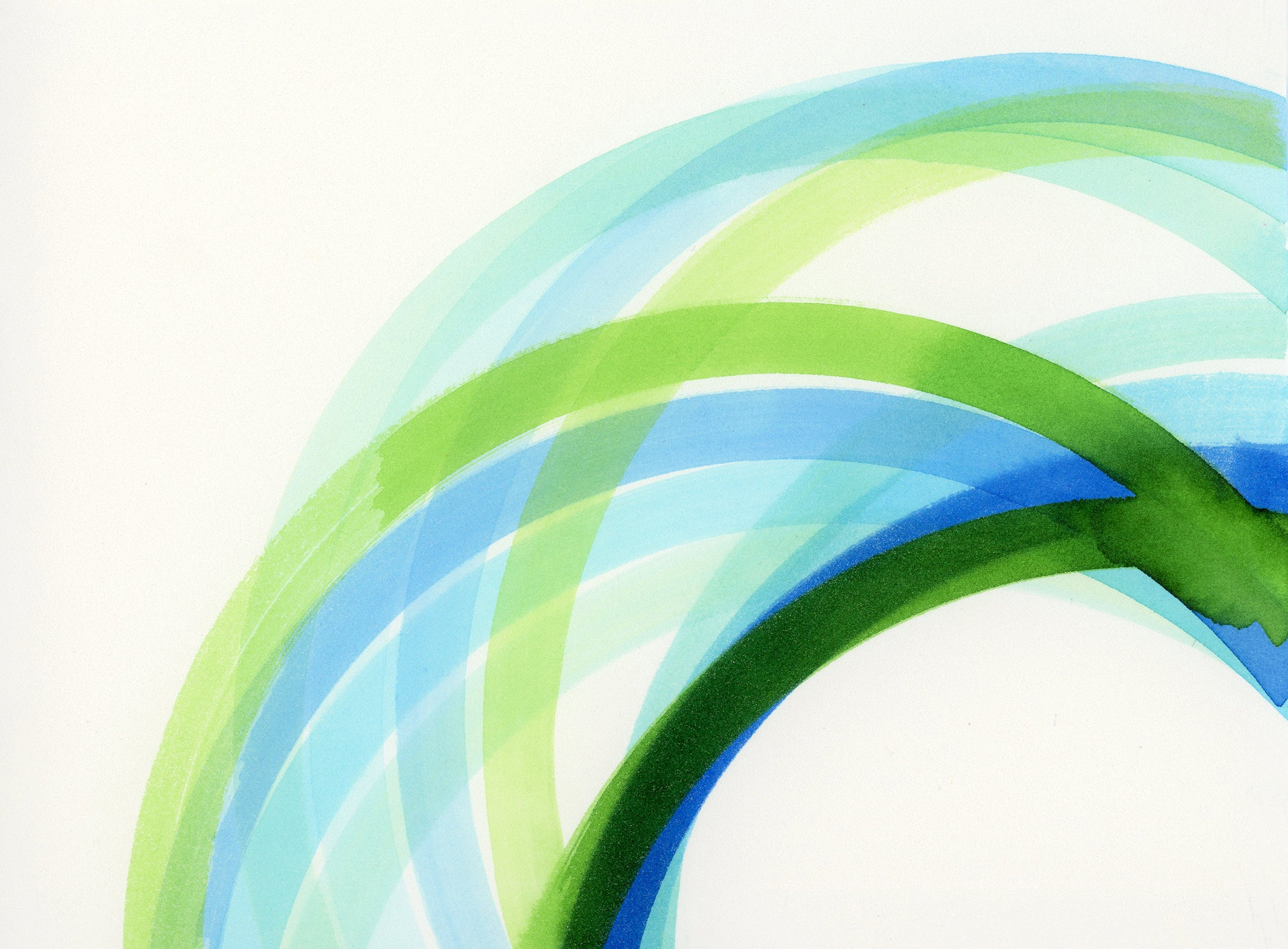 abstract painting of interlocking green, blue, turquoise circles  detail