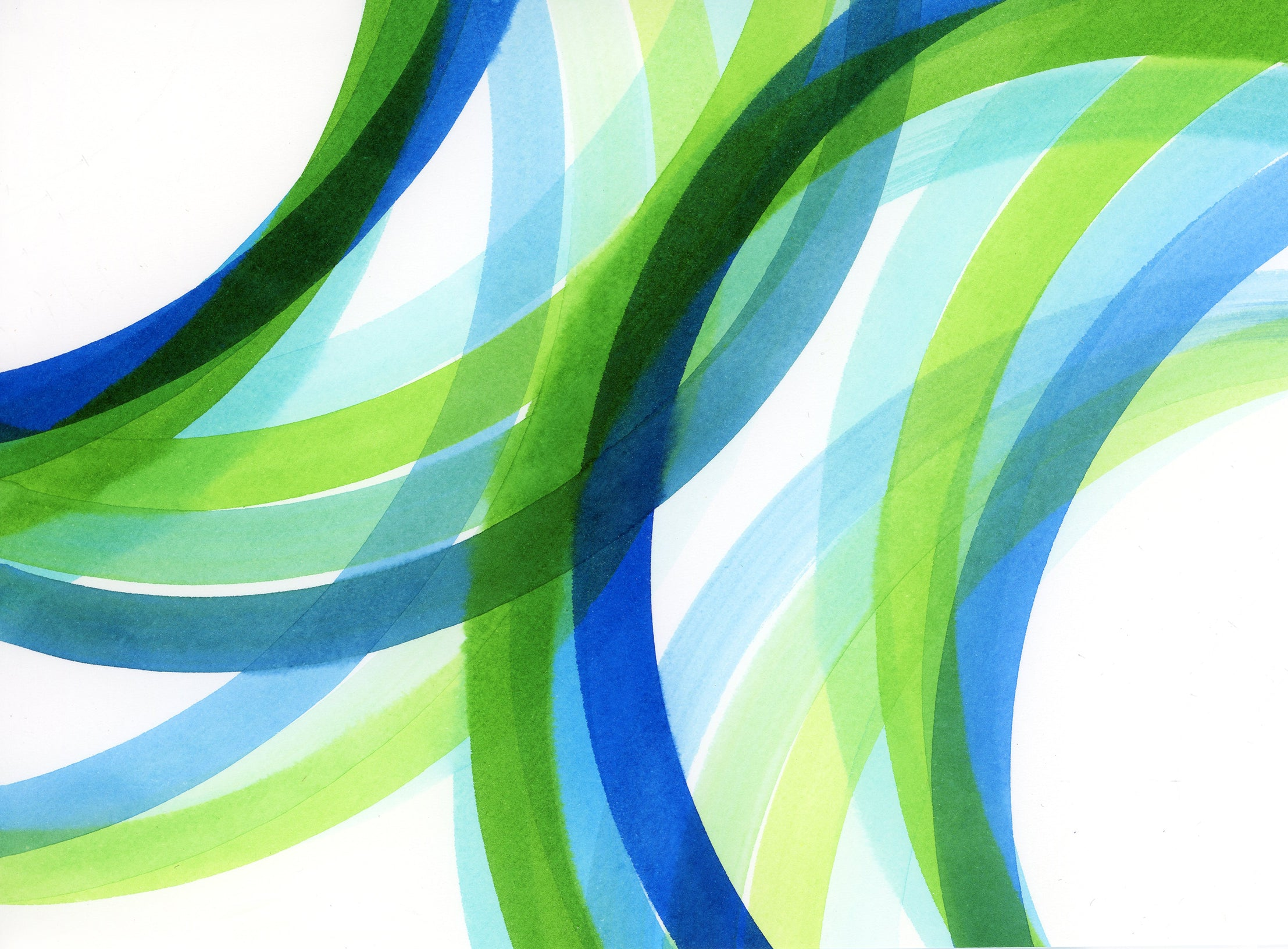 abstract painting detail of interlocking green, blue, turquoise circles